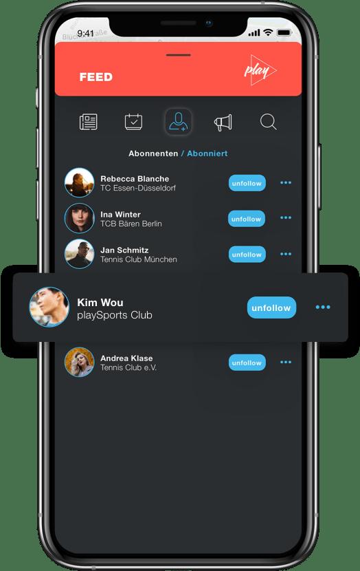 Feed in der PLAYSPORTS App