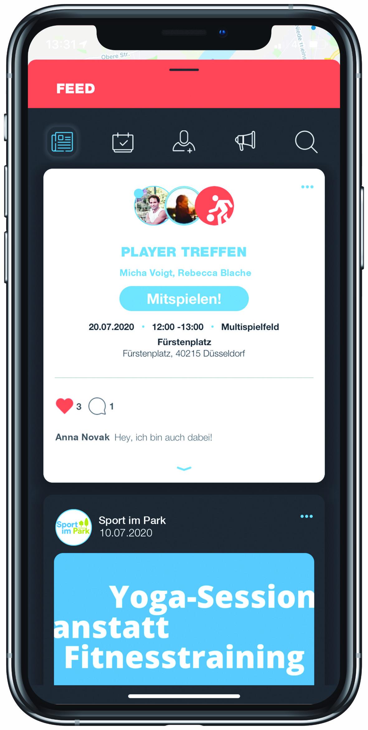 PLAYSPORTS App Feed Aktivität Freunde