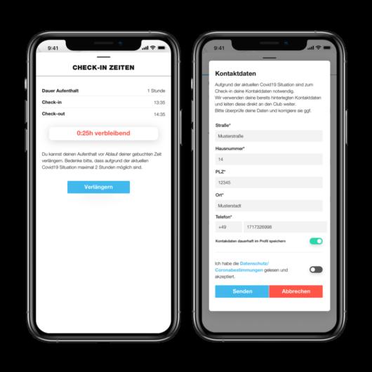 Checkin Kontaktrückverfolgung in der App