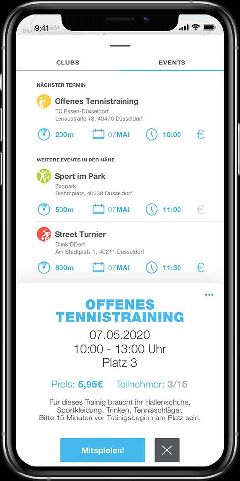 Tennistraining in der PLAYSPORTS APP