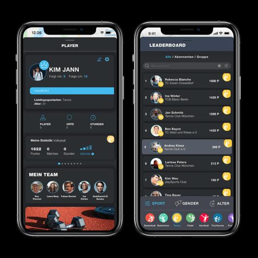 Wettkamp und Profil in der PLAYSPORTS App
