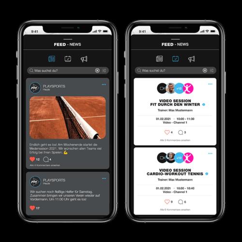 Der Newsfeed im kostenlosen Buchungssystem PLAYSPORTS